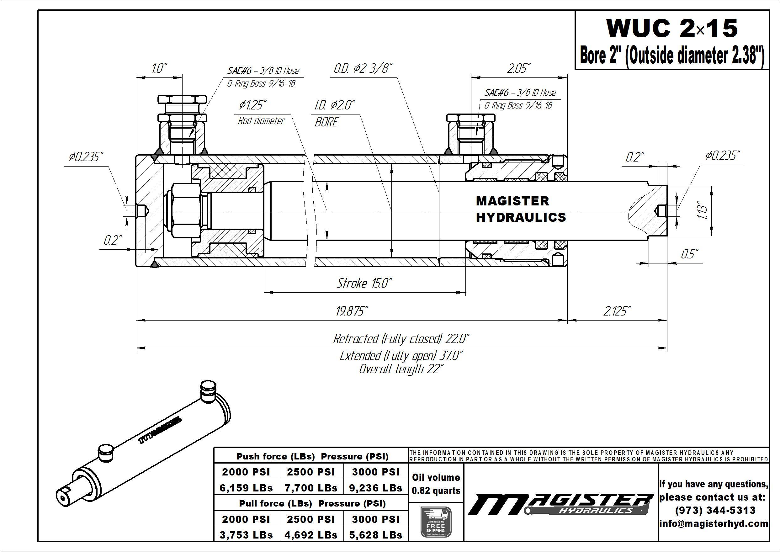 """2"""" bore x 15"""" stroke universal hydraulic cylinder"""