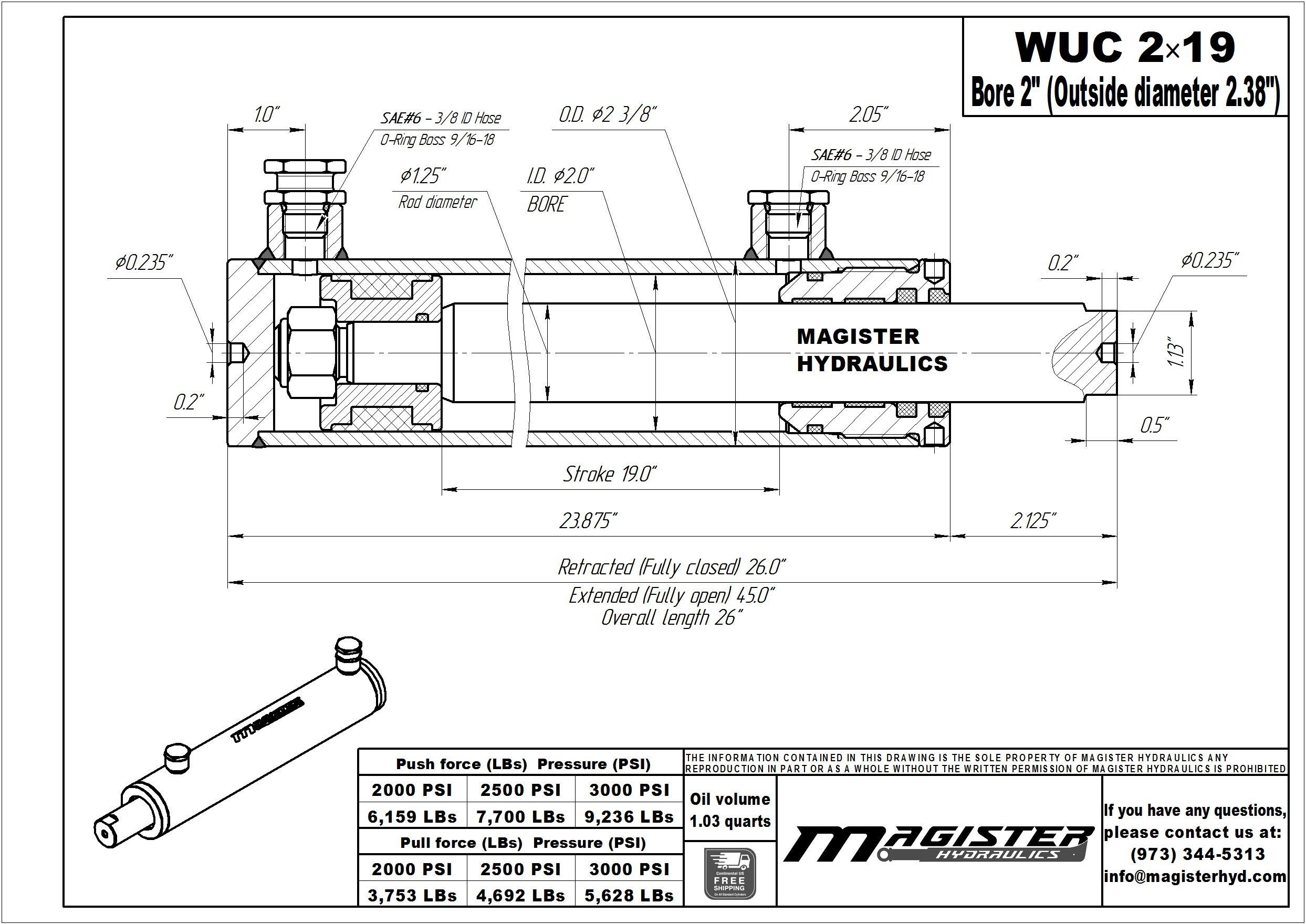 2 bore x 19 stroke hydraulic cylinder, welded universal double acting cylinder | Magister Hydraulics