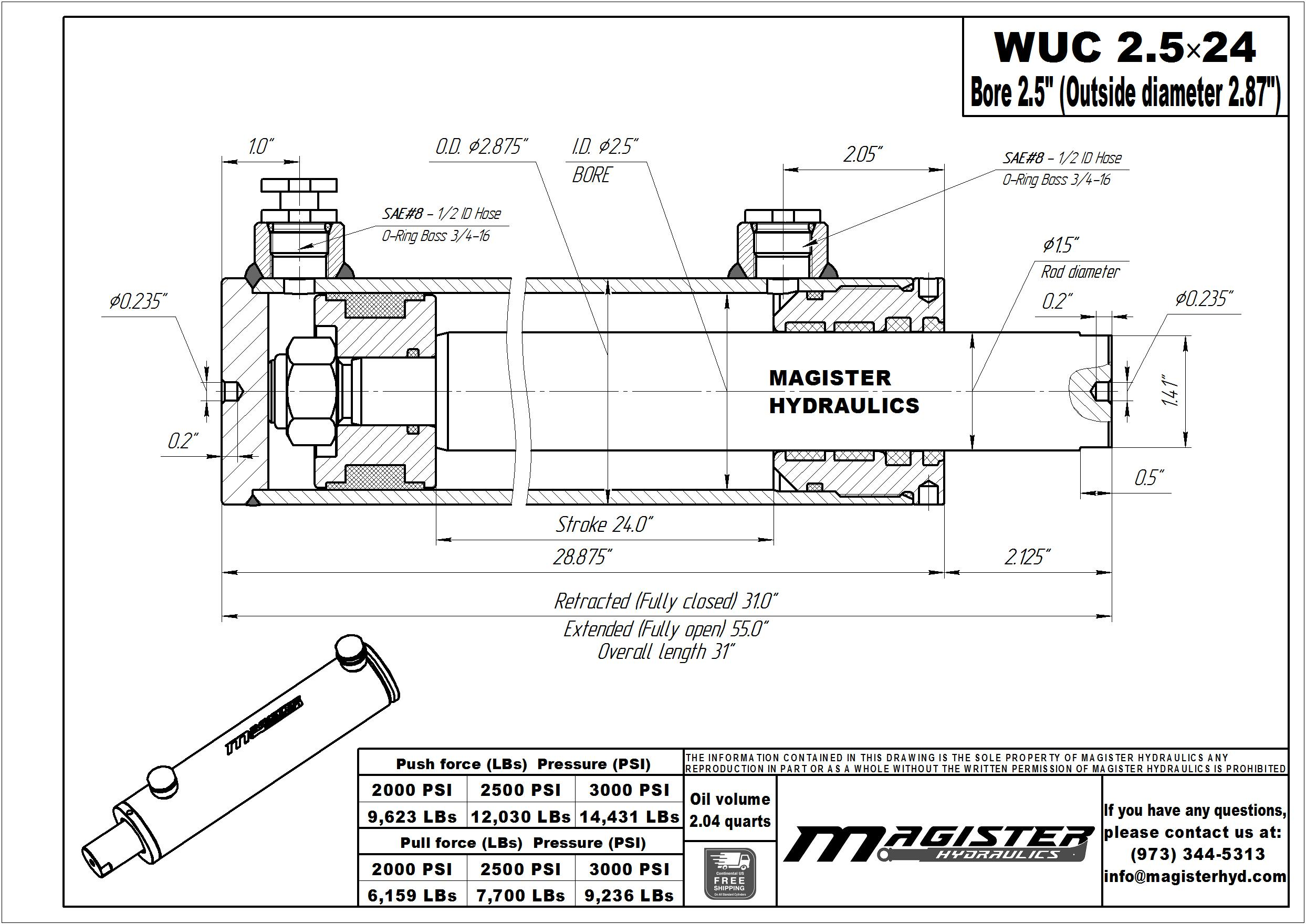 2.5 bore x 24 stroke hydraulic cylinder, welded universal double acting cylinder | Magister Hydraulics