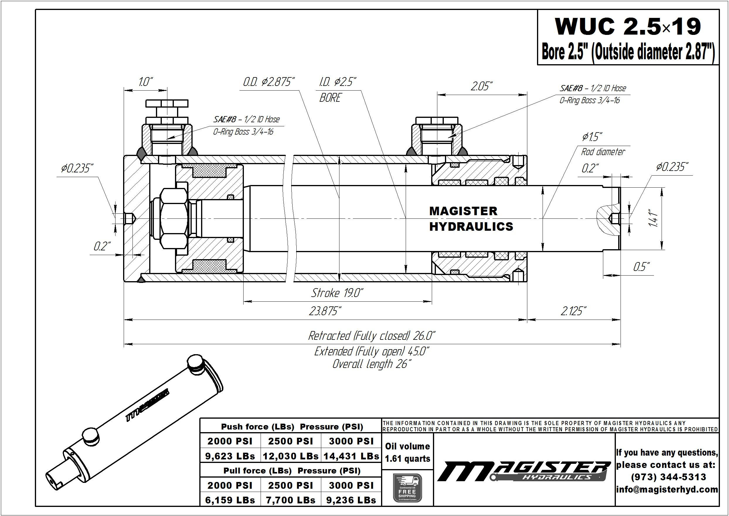 2.5 bore x 19 stroke hydraulic cylinder, welded universal double acting cylinder | Magister Hydraulics